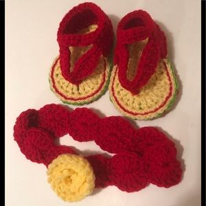 Other - HAND CROCHETED BABY SANDALS AND HEADBAND